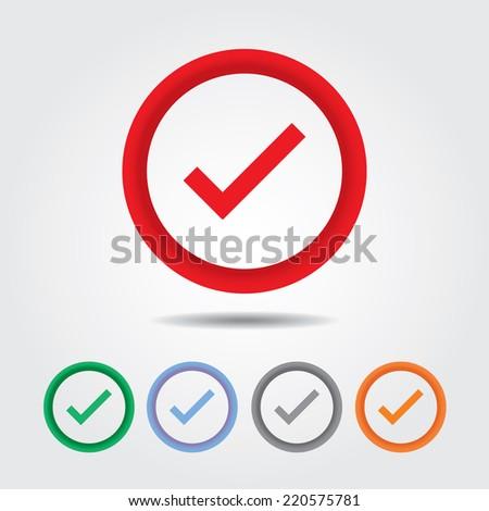 True icon , Check mark sign - stock vector