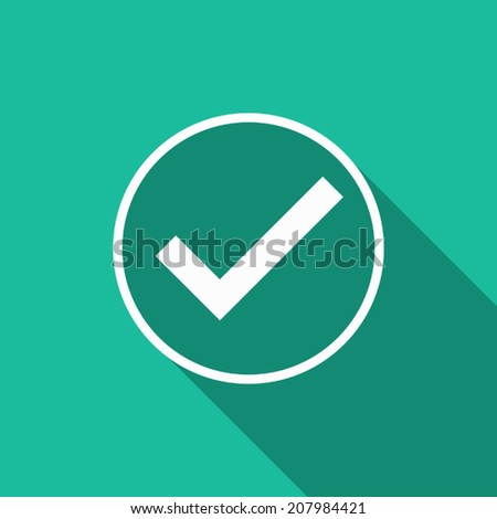 true icon with long shadow - stock vector