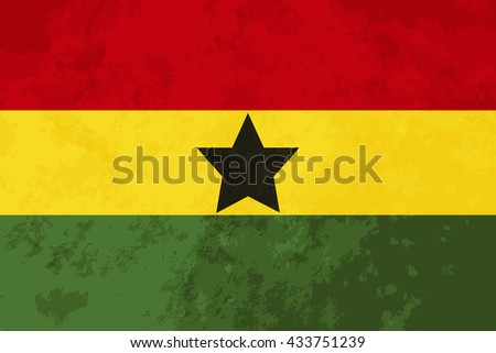 True proportions Ghana flag with grunge texture - stock vector
