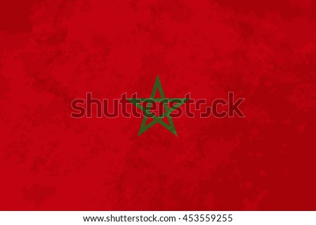 True proportions Morocco flag with grunge texture - stock vector