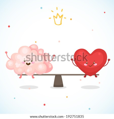 True story, the brain and the heart, vector. - stock vector
