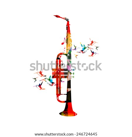 Trumpet and saxophone design - stock vector