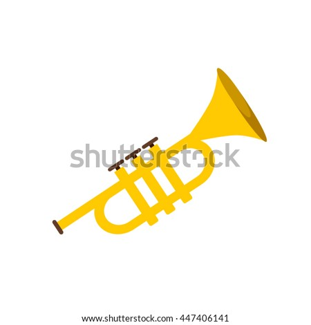 Trumpet icon isolated on white background. Flat vector illustration trumpet. Golden trumpet. Wind musical instrument- trumpet. - stock vector