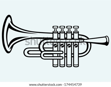 Trumpet, musical instrument. Image isolated on blue background - stock vector