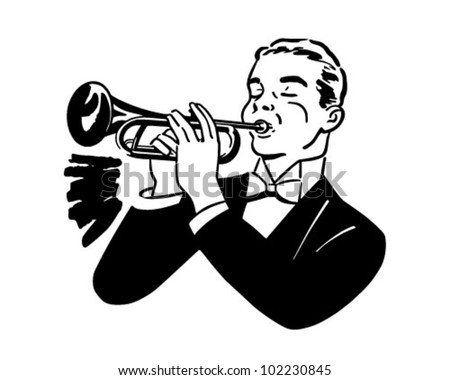 Trumpet Player - Retro Clipart Illustration - stock vector