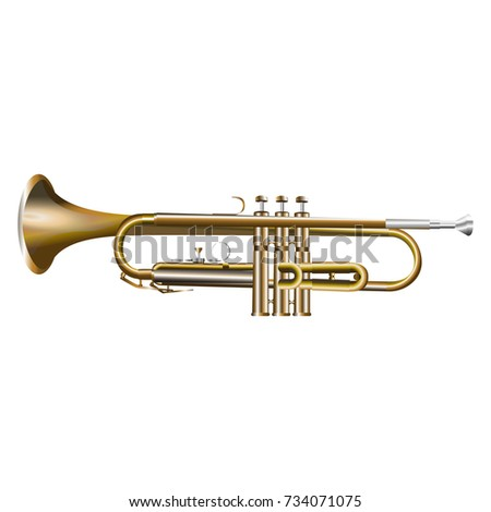trumpet realistic vector illustration isolated on white background