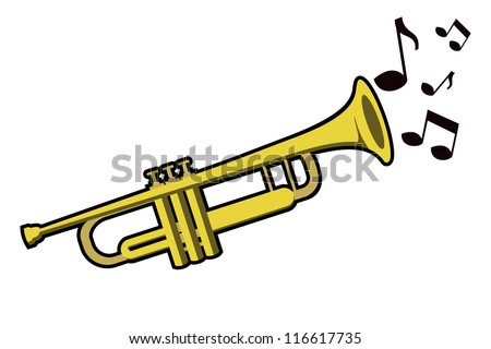 trumpet with notes - stock vector