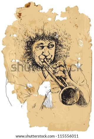 Trumpeter. A vector image is composed of two editable layers - background with torn paper and sketch of musician. - stock vector