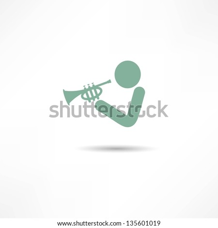 trumpeter icon - stock vector