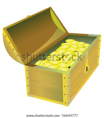 Trunk  with treasure.  Vector illustration.