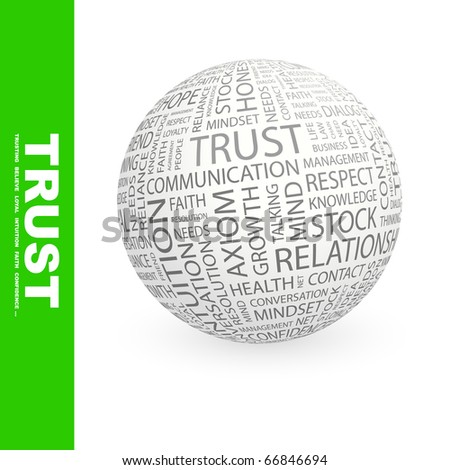 TRUST. Globe with different association terms.