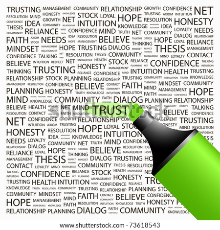 TRUST. Highlighter over background with different association terms. Vector illustration.