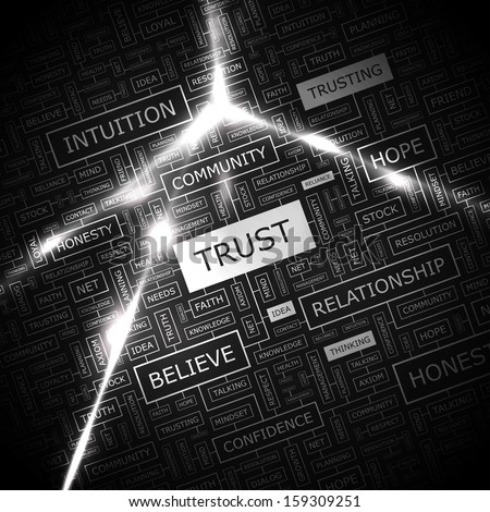 TRUST. Word cloud concept illustration. Graphic tag collection. Wordcloud collage with related tags and terms.  - stock vector