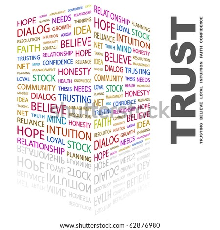 TRUST. Word collage on white background. Illustration with different association terms. - stock vector
