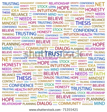 TRUST. Word collage on white background. Vector illustration. Illustration with different association terms. - stock vector