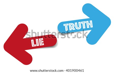 Truth and lie color arrows - stock vector