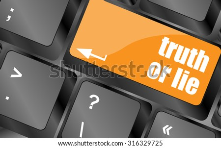 truth or lie button on computer keyboard key, vector illustration - stock vector
