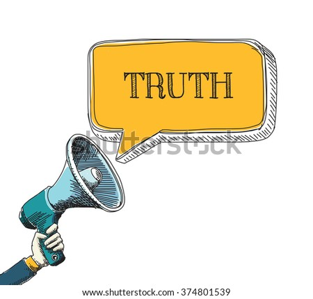 TRUTH word in speech bubble with sketch drawing style - stock vector