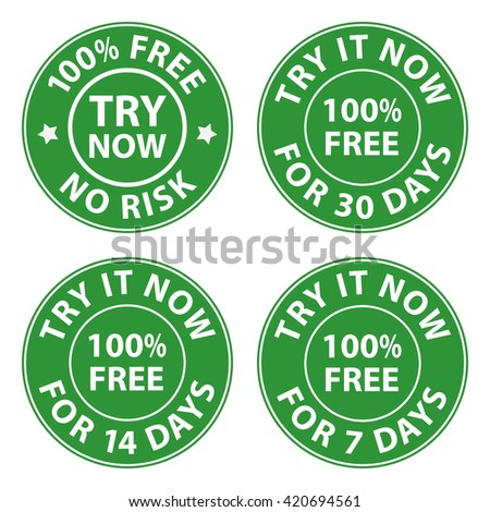 Try, trial buttons set, vectors
