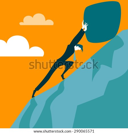 Trying to pull the stone up the hill. Vector illustration ...