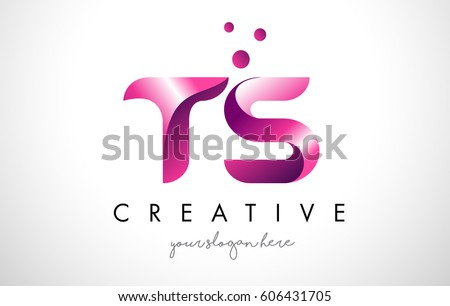 ts letter logo design template with purple colors and dots