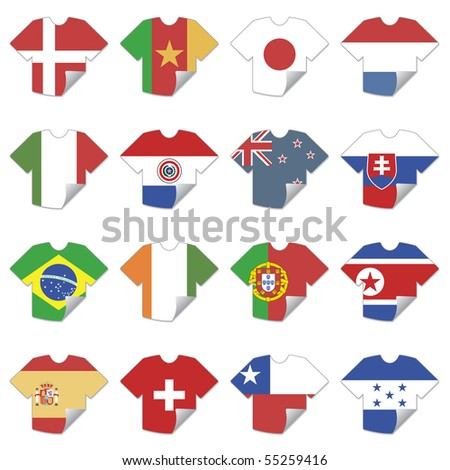 tshirt football team flag icons isolated on white - stock vector