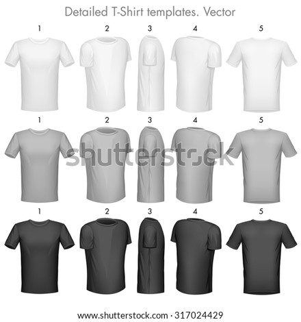 Tshirt templates. Detailed vector - stock vector