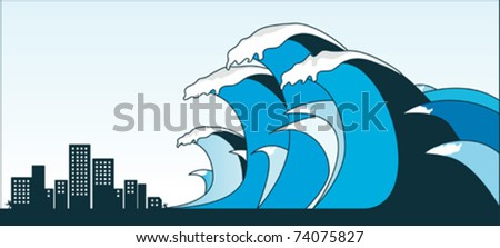 Tsunami - stock vector