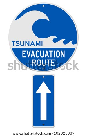 Tsunami Evacuation Route - stock vector
