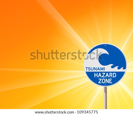 Tsunami Warning and Sunshine - Blue information notice with tsunami wave and yellow background - stock vector
