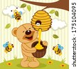 tteddy bear takes honey bees - vector illustration - stock
