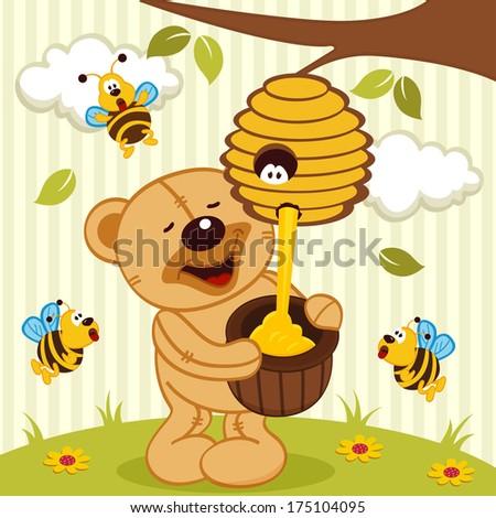 tteddy bear takes honey bees - vector illustration - stock vector