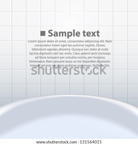 tub on the background tiles - stock vector