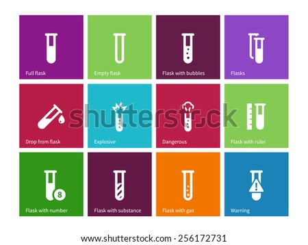 Tube icons on color background. Vector illustration. - stock vector