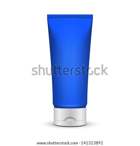 Tube Of Cream Or Gel Blue Clean. Ready For Your Design. Product Packing Vector EPS10 - stock vector