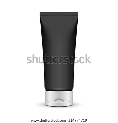 Tube Of Cream Or Gel Grayscale Silver Black Clean. Ready For Your Design. Product Packing Vector EPS10 - stock vector