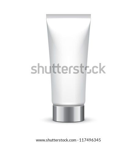Tube Of Cream Or Gel Grayscale Silver White Clean With Chrome Lid. Ready For Your Design. Product Packing Vector EPS10 - stock vector