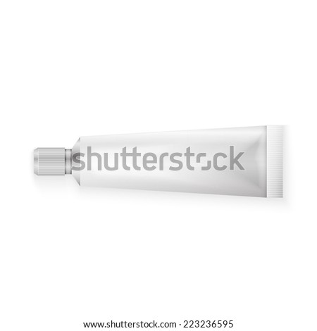 Tube Of Toothpaste, Cream Or Gel Grayscale Silver White Clean.