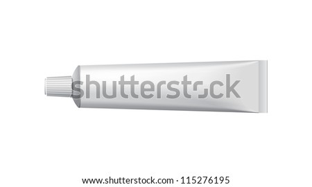 Tube Of Toothpaste, Cream Or Gel Grayscale Silver White Clean. Ready For Your Design. Product Packing Vector EPS10 - stock vector