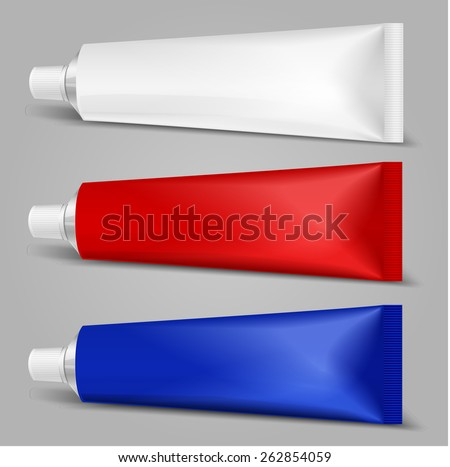 Tube Of Toothpaste, Cream Or Gel. Ready For Your Design. Product Packing Vector EPS10 - stock vector