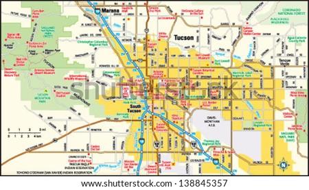 Tucson Arizona Area Map Stock Vector Shutterstock
