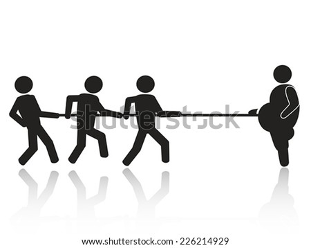 tug-of-war businessmen stick figures - stock vector