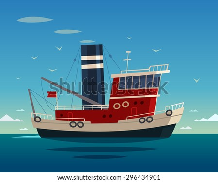 Tugboat at sea. Vector illustration. - stock vector