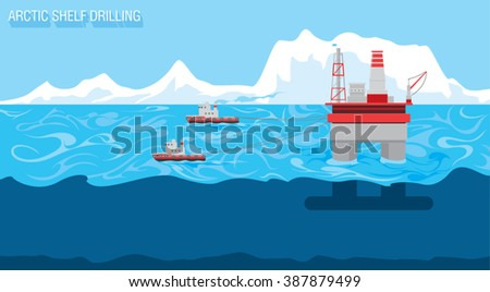 tugboats assist for transportation the drilling platform on the Arctic seas. Arctic landscape panorama / oil and gas industry shelf drilling technology background / vector illustration - stock vector