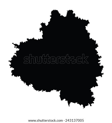 Tula Oblast map, vector map isolated on white background. High detailed silhouette illustration. Russia oblast map illustration.