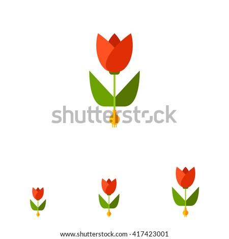 Tulip flat icon - stock vector