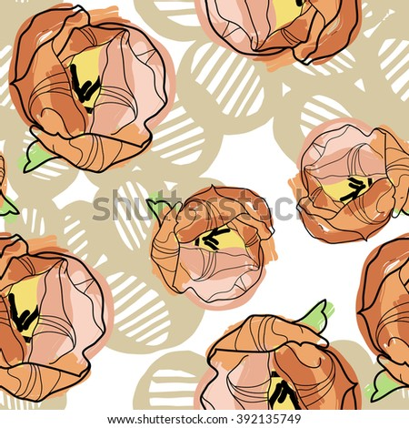 Tulips isolated flowers on ancient geometry background vector seamless pattern.