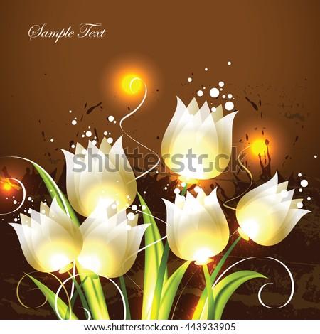 Tulips. Orange Vector Background. - stock vector
