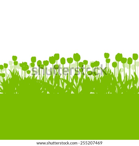 Tulips spring seasonal flower garden ecology concept detailed illustration background vector - stock vector