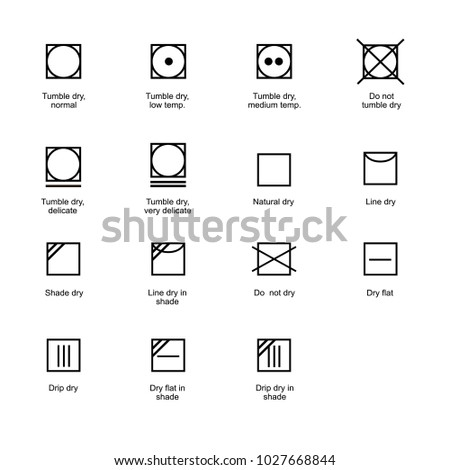 Tumble Dry Textile Care Symbols Stock Vector Royalty Free
